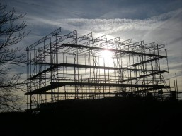 scaffolding against a winter sun